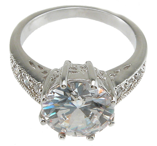 925 Sterling Silver Rhodium Finish CZ Brilliant Solitaire Engagement Ring