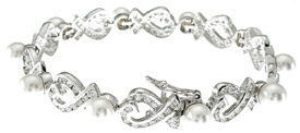 925 Sterling Silver Rhodium Finish CZ Fashion Tennis Bracelet