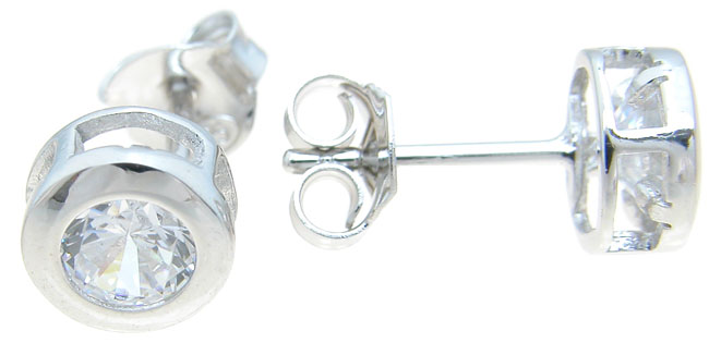 925 Sterling Silver Rhodium Finish Brilliant Stud Earrings
