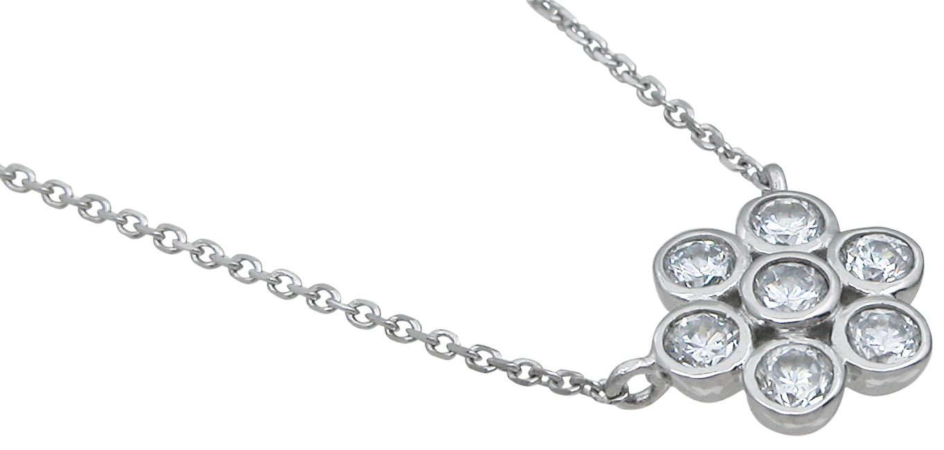 wholesale sterling silver flower necklace