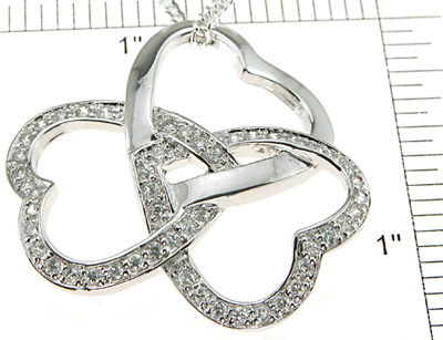 925 Sterling Silver Rhodium Finish CZ Brilliant Heart Pendant