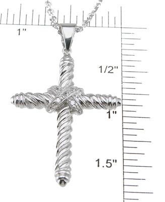 925 Sterling Silver Rhodium Finish Brilliant Cross Fashion Pave Pendant
