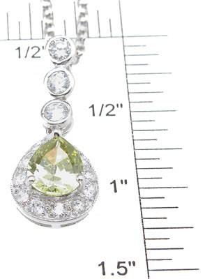 925 Sterling Silver Rhodium Finish Pear Shape Antique Style Pave Pendant