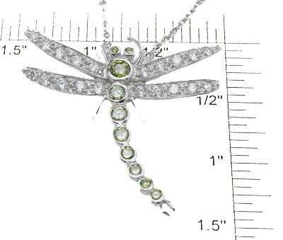 925 Sterling Silver Rhodium Finish Brilliant Dragon Fly Antique Style Bezel Pendant