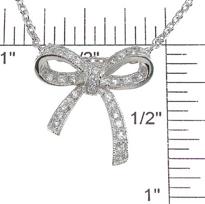 925 Sterling Silver Rhodium Finish CZ Ribbon Pendant