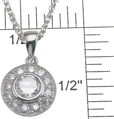 925 Sterling Silver Rhodium Finish CZ Antique Style Pave Pendant