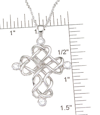 925 Sterling Silver Rhodium Finish CZ Brilliant Cross Bezel Pendant