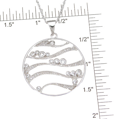 925 Sterling Silver Rhodium Finish CZ Brilliant Bezel Pendant