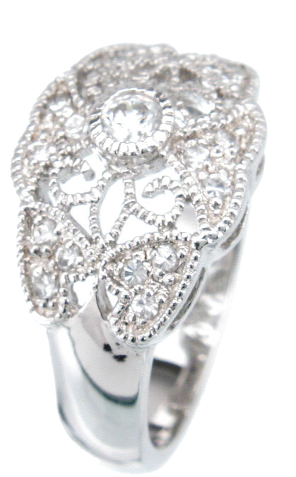 925 Sterling Silver Platinum Finish Antique Style Ring