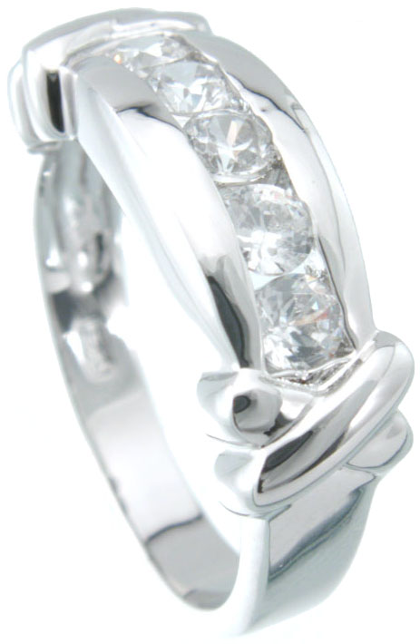 925 Sterling Silver RhodiumFinish Brilliant Fashion Ring