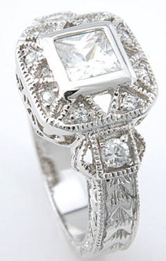 925 Sterling Silver Platinum Finish Princess Antique Style Pave Ring