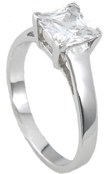 925 Sterling Silver Platinum Finish Princess Solitaire Engagement Ring