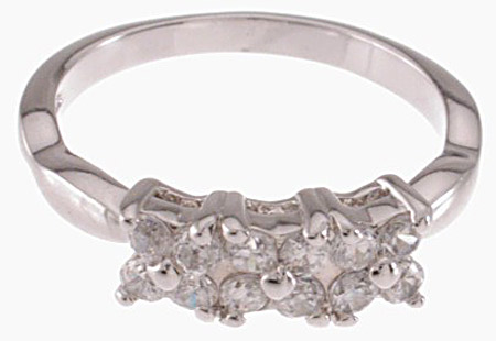 925 Sterling Silver Platinum Finish Fashion Ring