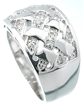 925 Sterling Silver Platinum Finish Fashion Pave Band