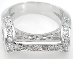 925 Sterling Silver Platinum Finish Antique Style Pave Ring