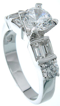925 Sterling Silver Platinum Finish Brilliant Solitaire Engagement Ring