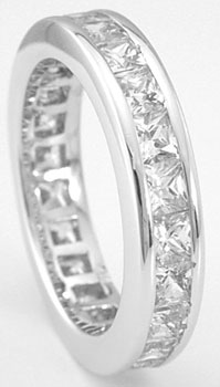 925 Sterling Silver Platinum Finish Princess Fashion Band