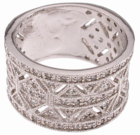 925 Sterling Silver Platinum Finish Antique Style Pave Band