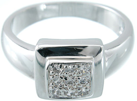 925 Sterling Silver Platinum Finish Fashion Pave Ring