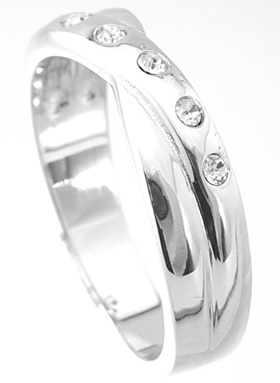 925 Sterling Silver Platinum Finish Fashion Three Stone Ring