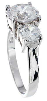 925 Sterling Silver Platinum Finish Brilliant Three Stone Engagement Ring