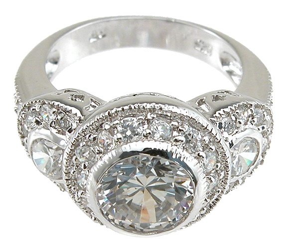 925 Sterling Silver Rhodium Finish Antique Style Wedding Ring