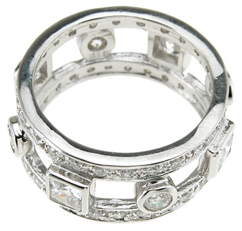 925 Sterling Silver Rhodium Finish Princess Eternity Engagement Band