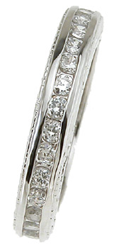 925 Sterling Silver Rhodium Finish Brilliant Eternity Channel Band