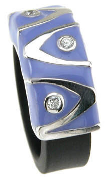 925 Sterling Silver Rhodium Finish Enamel Fashion Rubber Ring