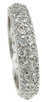 925 Sterling Silver Rhodium Finish Brilliant Eternity Pave Wedding Band