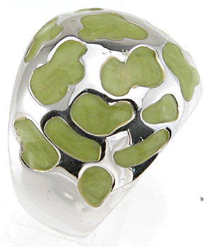 925 Sterling Silver Rhodium Finish Enamel Fashion Anniversary Ring