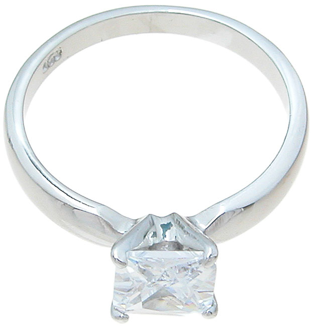 925 Sterling Silver CZ Princess Solitaire Wedding Ring