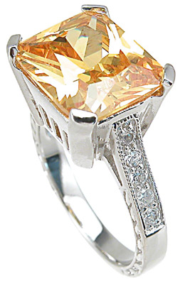 925 Sterling Silver Rhodium Finish Emerald Cut Fashion Anniversary Ring