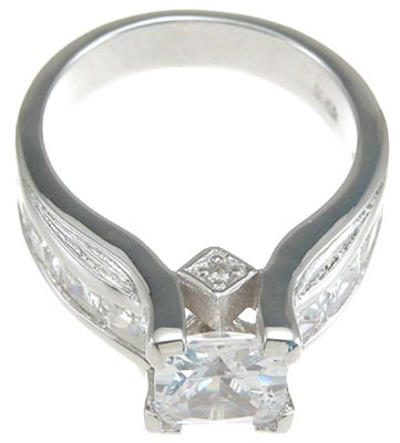 925 Sterling Silver Rhodium Finish CZ Princess Designer Inspired Anniversary Ring