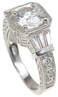 925 Sterling Silver Rhodium Finish CZ Baguette Designer Inspired Pave Anniversary Ring