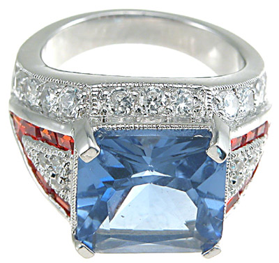 925 Sterling Silver Rhodium Finish Emerald Cut Antique Style Anniversary Ring