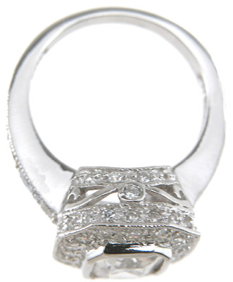 925 Sterling Silver Rhodium Finish CZ Emerald Cut Antique Style Wedding Ring