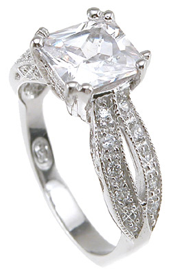 925 Sterling Silver Rhodium Finish CZ Princess Antique Style Wedding Ring