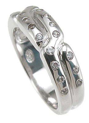 925 Sterling Silver Rhodium Finish CZ Pave Anniversary Band