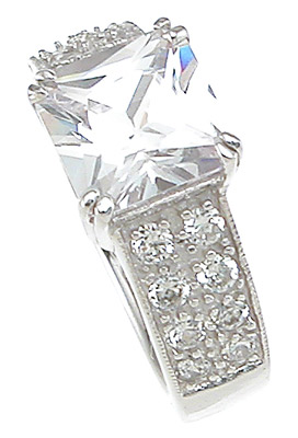 925 Sterling Silver Rhodium Finish CZ Princess Pave Wedding Ring