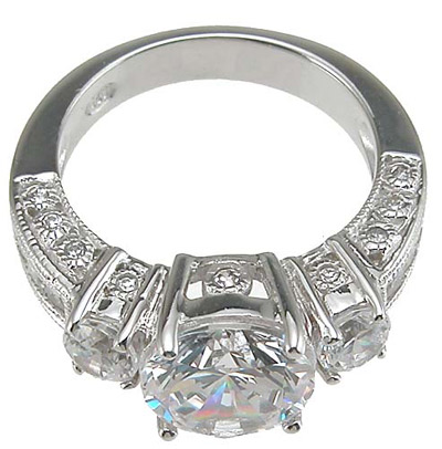 925 Sterling Silver Rhodium Finish CZ Three Stone Wedding Ring