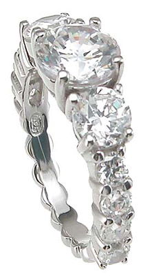 925 Sterling Silver Rhodium Finish CZ Prong Wedding Ring