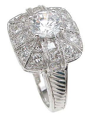 925 Sterling Silver Rhodium Finish CZ Antique Style Anniversary Ring