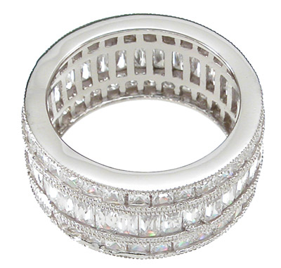 925 Sterling Silver Tripple Eternity Ring