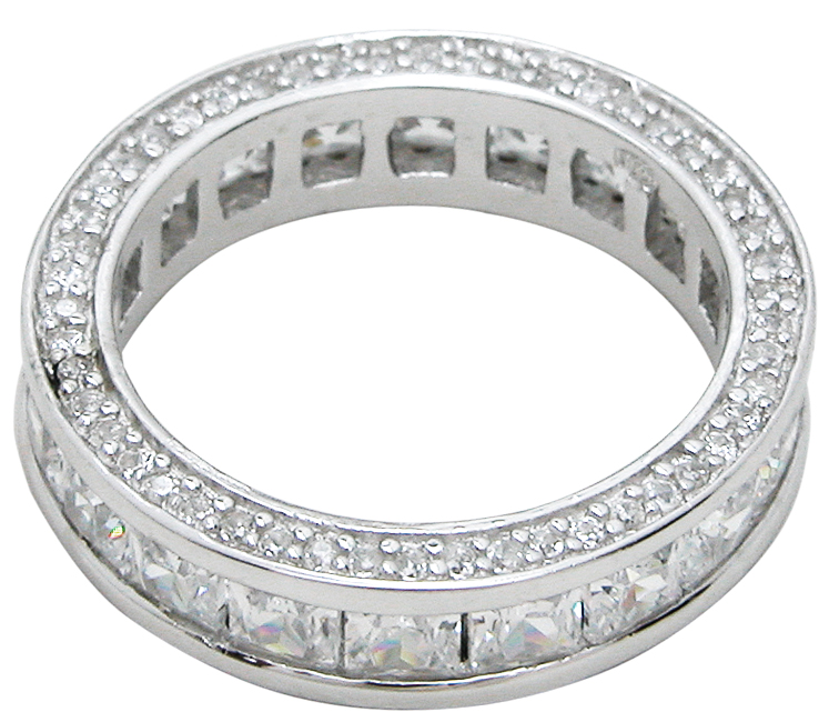 925 Sterling Silver Princess Eternity Ring