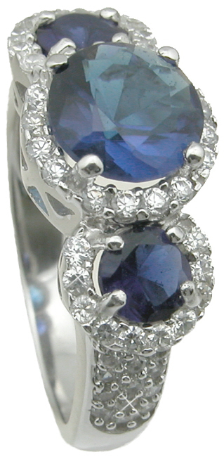 wholesale 925 sterling silver simulated sapphire wedding ring
