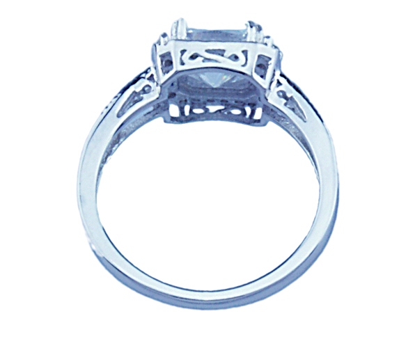 2ct double prong Sterling Couture 925 silver engagement ring