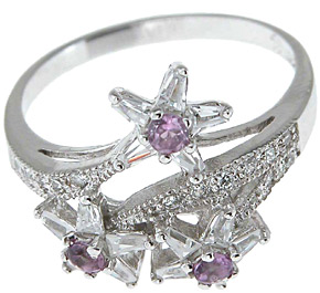 925 Sterling Silver Platinum Finish Genuine Amethyst Ring