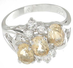 925 Sterling Silver Platinum Finish Genuine Citrine Ring