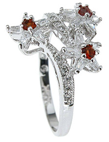 925 Sterling Silver Platinum Finish Genuine Garnet Ring